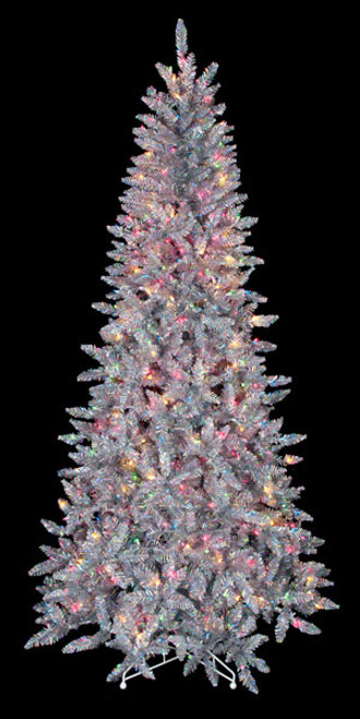 7.5' Silver Iridescent Tree with Multi-Colored Lights