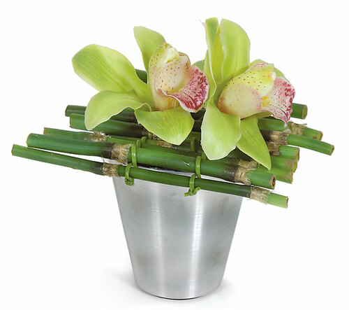 """PF-704407"""" Potted Cattleya Orchid & BambooGreen/Mauve"""