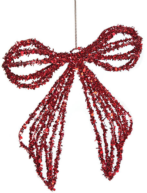 6 Inch Tinsel Glittered Bow Red