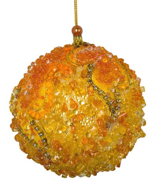 "J-82780 3.5"" Jeweled/Beaded Ball Orange/Yellow"