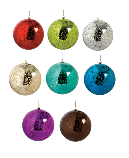 "6"" Mercury Glass Ball Ornaments"