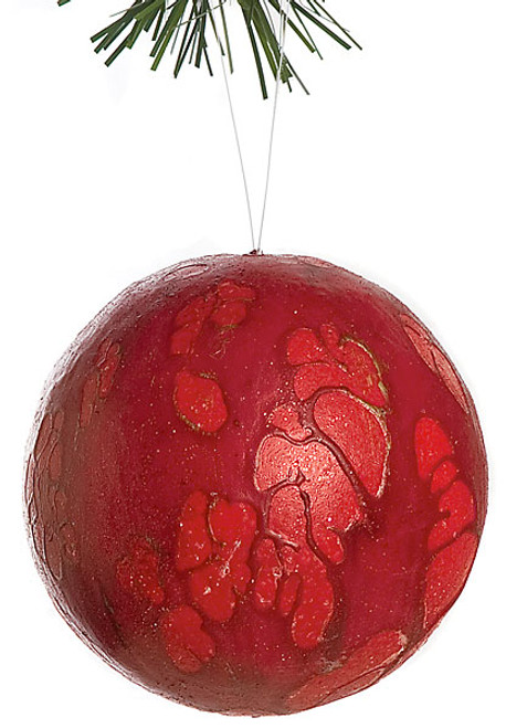 4 Inch Mottled Ball with Glitter Red