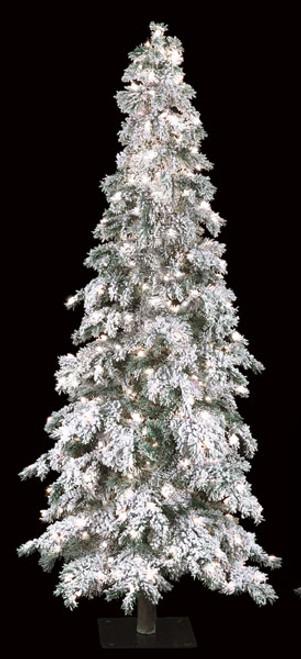 7' Flocked Carolina Pine Tree