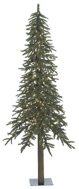 7' Alpine Tree with Warm White LED Lights Barkless Trunk