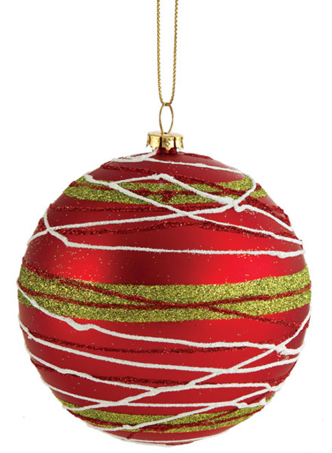 4 Inch Red Ball with Glitter Lines Red/Green