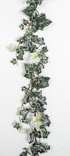 P-573-closeup 6' Silver Ivy Garland Green/White