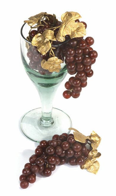"""A-8637"""" Grape ClusterBurgundy grapes/Gold leaves"""