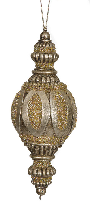 """10"""" Beaded Finial OrnamentChampagne"""