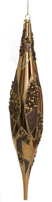 "J-11076013"" Shiny Beaded FinialBrown/Gold"