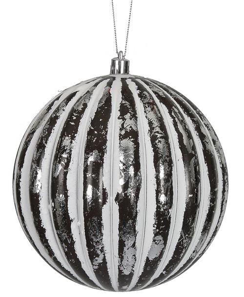 "J-1720206"" Antique Ball OrnamentBlack/White/Silver"