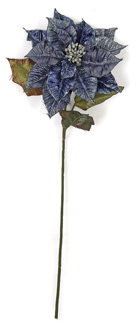 """P-17347028"""" Metallic Poinsettia StemBlue"""