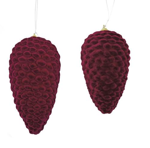 "7"" and 9"" Velvet Burgundy Pine Cones"