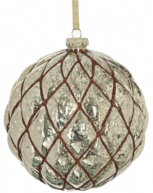 """J-1601506"""" Shiny Gold Ball with Brown Glitter"""