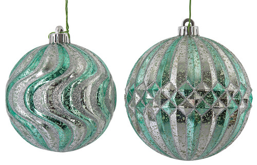 "5"" Swirl Ball or 6"" Ridged Ball Sold Separately Mercury Glass Fiinish"