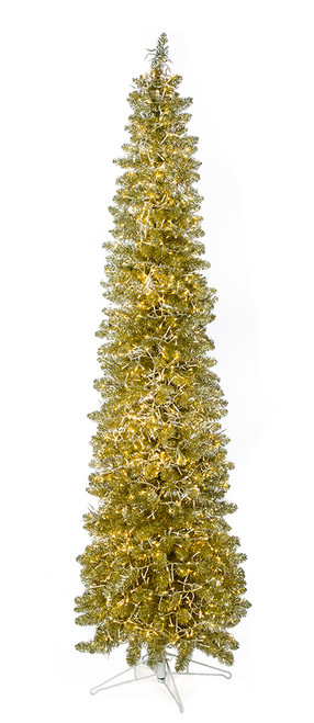 C-180854 9' Sparkling Champagne Trees  with Warm White Crab LED Lights