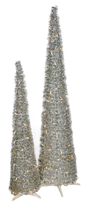 5' and 7' Silver Tinsel Pop Up Trees
