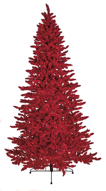 Flocked Valentine Tree with Red Lights