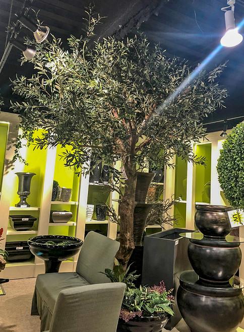 "P-180110 10' Olive Tree on PVC Trunk 85"" Foliage width"