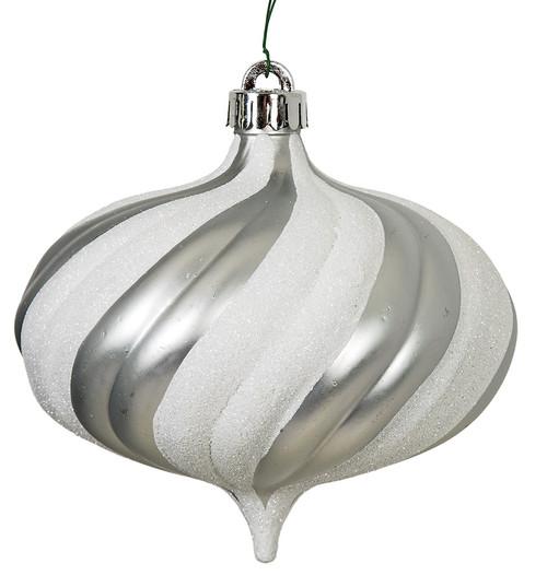 """J-180330 5"""" Matte Finish / Glitter Ball White/Silver"""