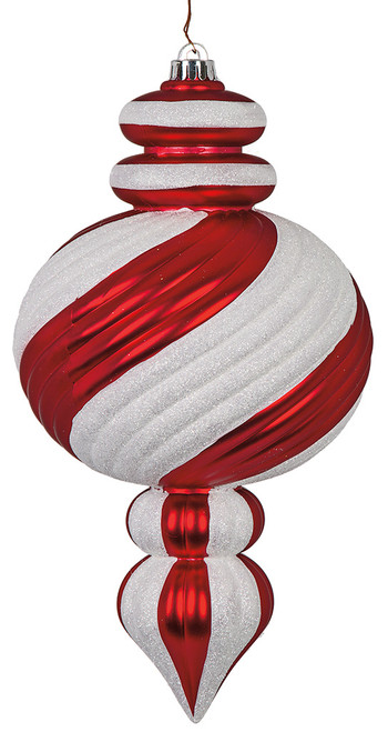 "14"" Pearl Matte Calabash Ornament with White Glitter"