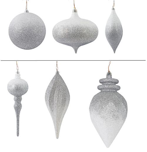 Silver/White Ombre Ornaments Ball, Onion, Oval, Elongated Finial, Swirl Drop. Faceted Cone
