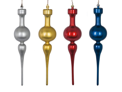 "13"" Pearl Gloss Finials  in Red, Gold, Silver, Blue"