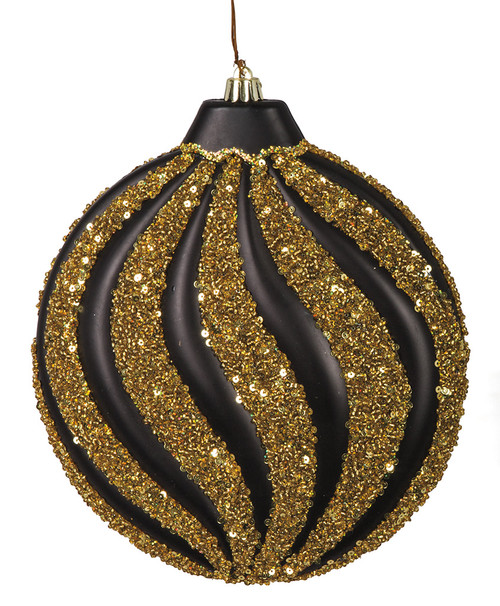 "8"" Matte Black with Beaded/Glitter Gold  Flat Disc Ornament"
