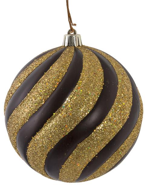 """J-180150 5"""" Matte Black and Glitter/Beaded Gold Swirl"""