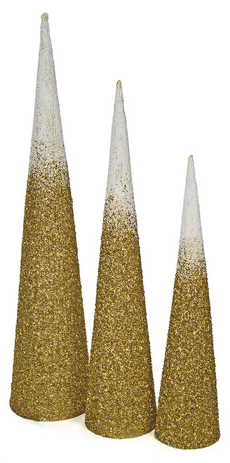 Grouping of 4', 5' and 6' Glittered/Beaded White and Gold Cone Trees