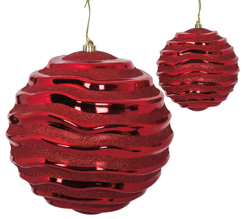 """J-180160 and J-180170 - red 6"""" and 12"""" Reflective Swirl  Ball"""