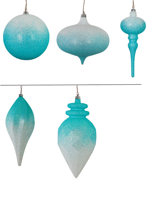 Light Blue/White Ombre Ornaments Ball, Onion, Elongated Finial, Swirl Drop, and Faceted PineCone