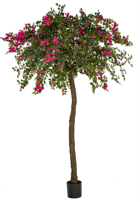 9' Bougainvillea Tree On Synthetic Wood Trunk Fuchsia Color