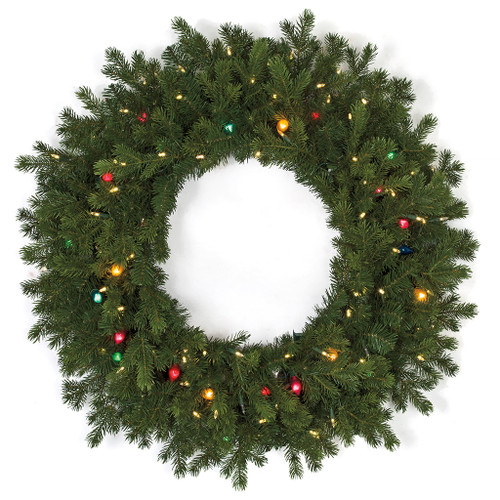 """36"""" Mixed PE/PVC Pippa Pine Wreath with C7 Multi-Colored Lights and LED Lights"""