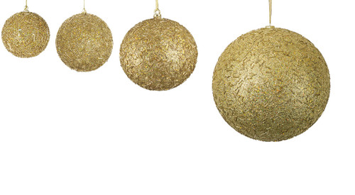 "Gold Glittered Beaded Ball Ornaments - 4"" to 12"" Sizes"
