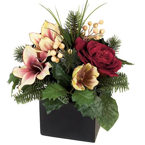 "12"" Potted Amaryllis & Rose Arrangement in Black Pot"
