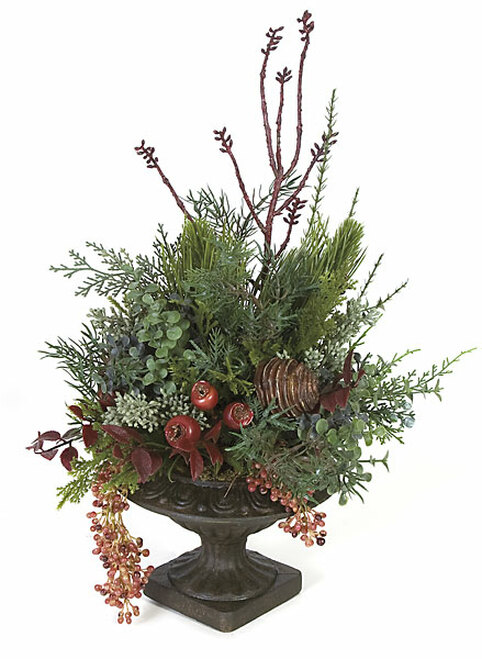 "15"" Mixed Arrangement with Dark Brown Plastic Urn"