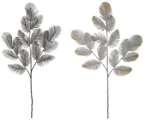 Glittered Fern Sprays - Silver with Gold Tips or Black with Silver Tips