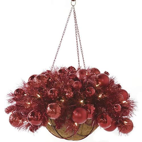 "14"" x 27"" Hanging Tinsel / Ornament Basket w/ Lights"