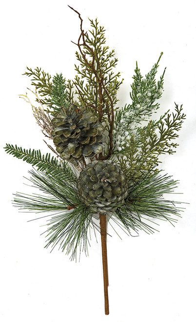 "C-180230 18"" Glittered Mixed Cypress/Pine Spray"