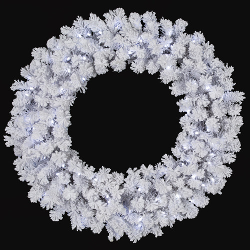 "36"" Flocked Arctic Pine Wreath Winter White LED Lights"