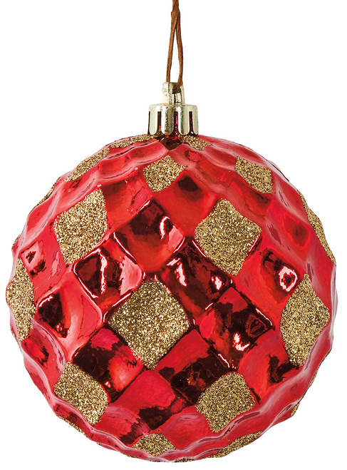 "J-180870 3"" Reflective Red Grid Ball with Gold Glitter"