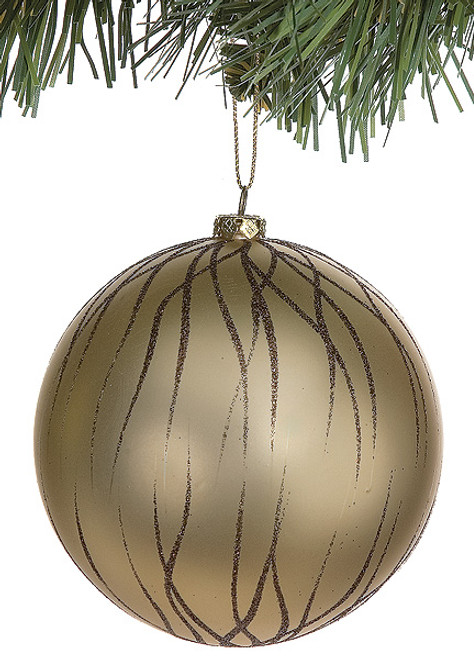 4 Inch Matte Chocolate Glitter Ball Ornament