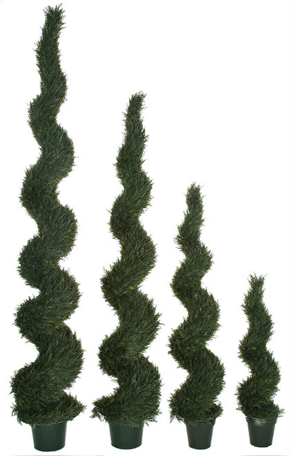 UV Cypress Spiral Topiaries in Weighted Base 4 Foot, 6 Foot, 8 Foot, 10 Foot