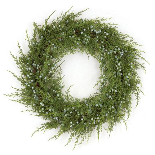 """20"""" Plastic Juniper Wreath"""