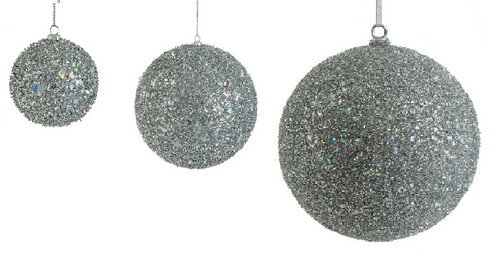 Silver Tinsel/Sequined Ball Ornaments in 3 Inch, 6 Inch, or 12 Inch