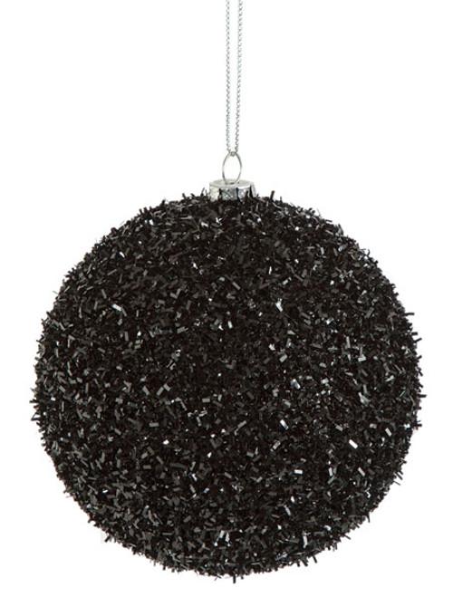 "4"" Black Tinsel Ball"