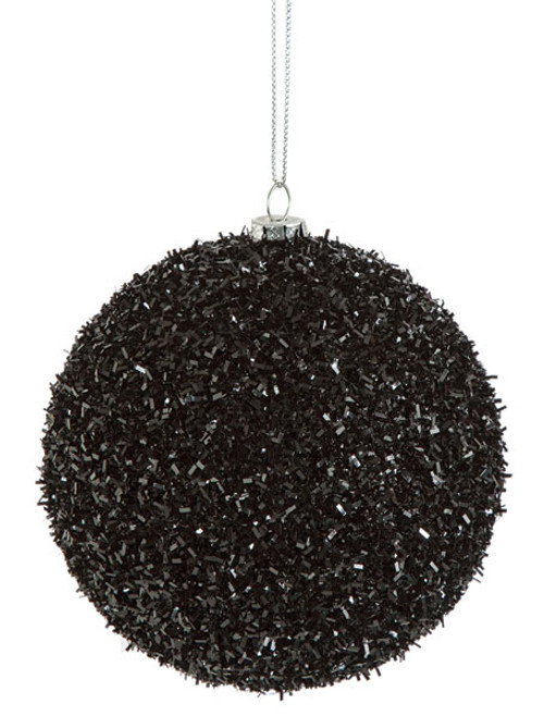 "4"" Black Tinsel Ball"