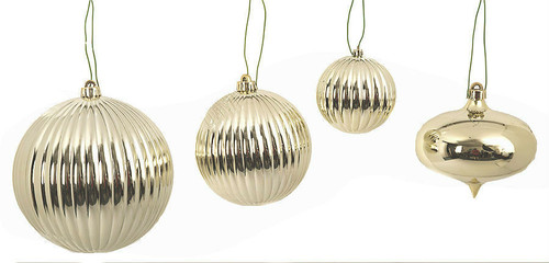 "Fire Retardant Ornaments Set of Champagne Gold Ornaments 4"", 6"", 8"" Balls and 6"" Onion"