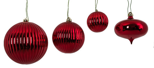 "Fire Retardant Red Ornaments  Set of Red Ornaments 4"", 6"", 8"" Balls and 6"" Onion"