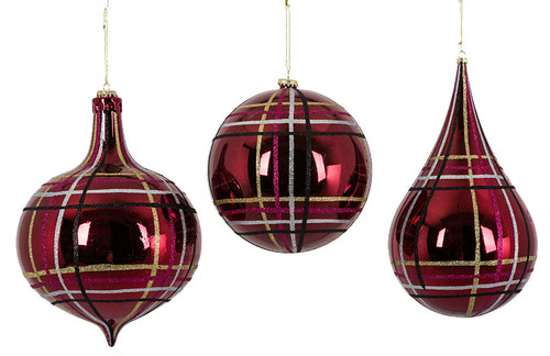 "Reflective Burgundy Plaid Grouping with Glitter Gold, Silver, and Black Strips 8"" Ball, 12"" Onion, or 13"" Drop Finial"